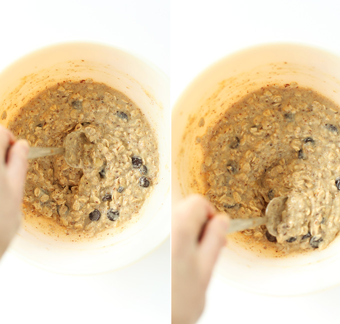 Using a spoon to stir batter for Vegan Gluten-Free Chocolate Chip Oatmeal Cookie Pancakes