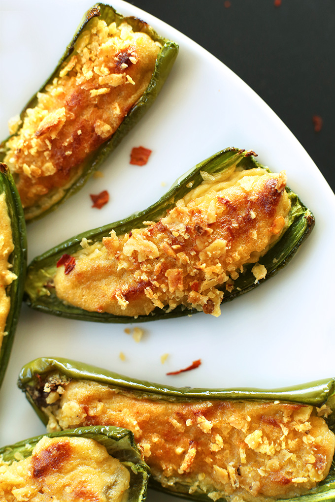 Close up shot of delicious Vegan Jalapeno Poppers