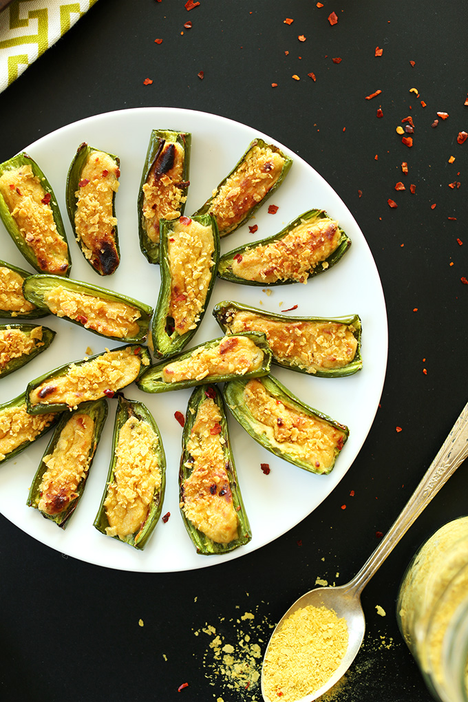 Plate of Vegan Jalapeno poppers for a simple appetizer