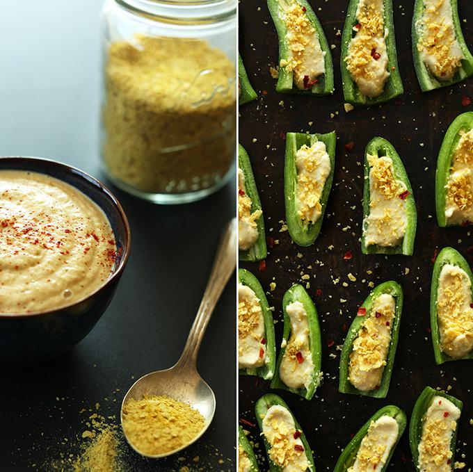 Tazón de relleno de popper jalapeño y una bandeja para hornear de poppers rellenos