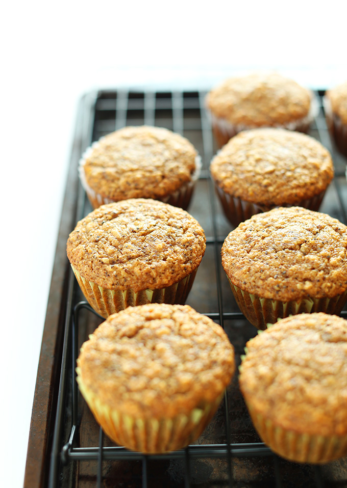 Batch of our Vegan Meyer Lemon Muffins recipe resting on a cooling rack