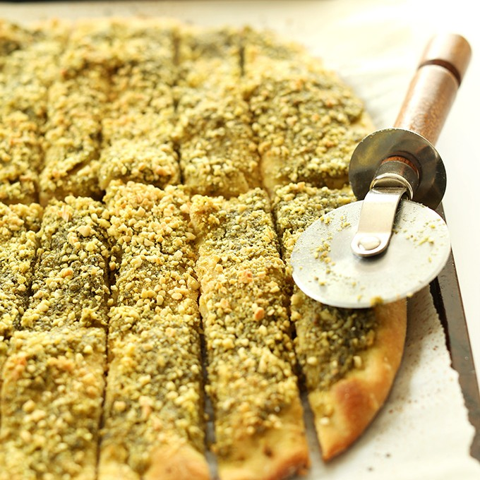 Freshly baked then sliced Vegan Pesto Breadsticks