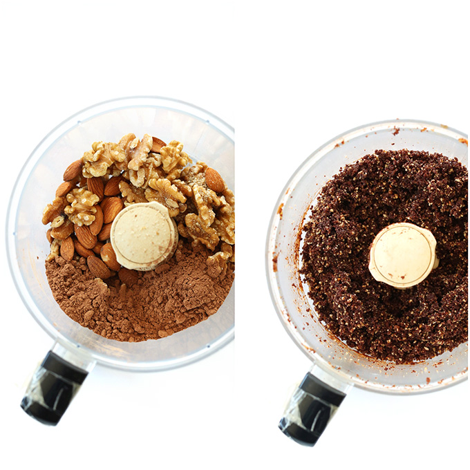 Food processor with 3 simple ingredients for brownie dough