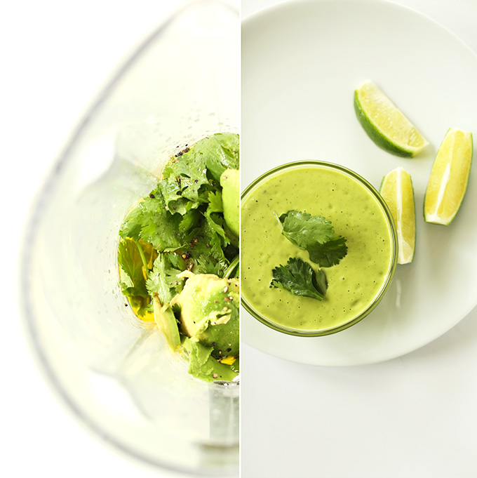 Blender and bowl of Cilantro Lime Avocado Dressing