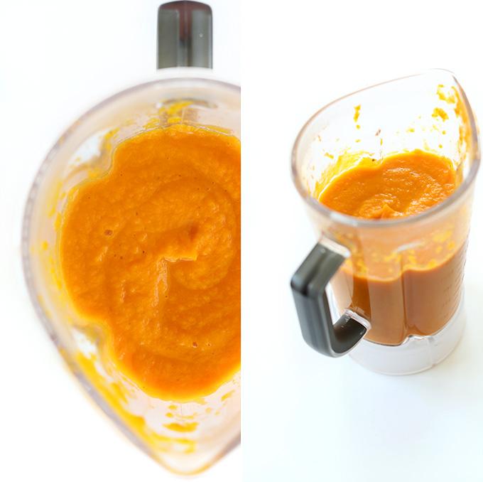Freshly pureed vegan creamy carrot soup