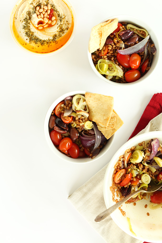 Healthy Vegan Mediterranean Wheat Berry Salads for a delicious lunch