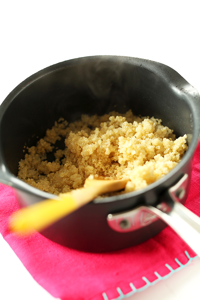 Pan of freshly cooked fluffy quinoa