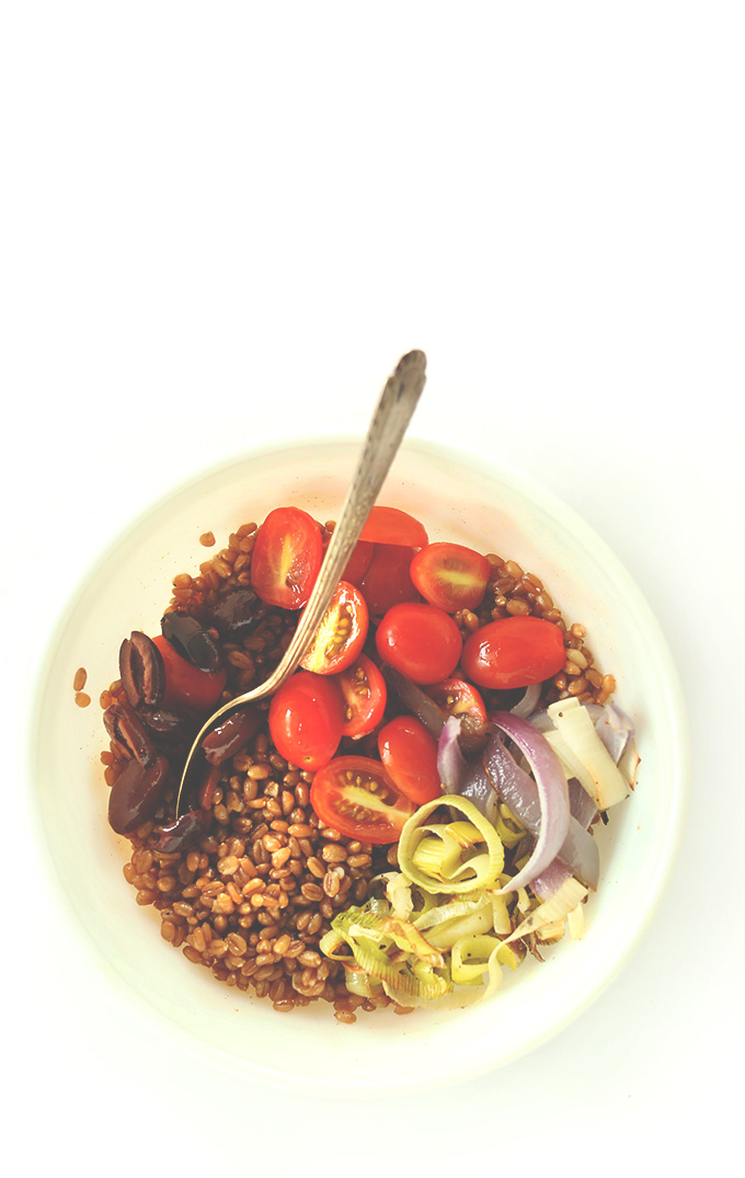 Bowl of Mediterranean Wheat Berry Salad for a satisfying vegan lunch