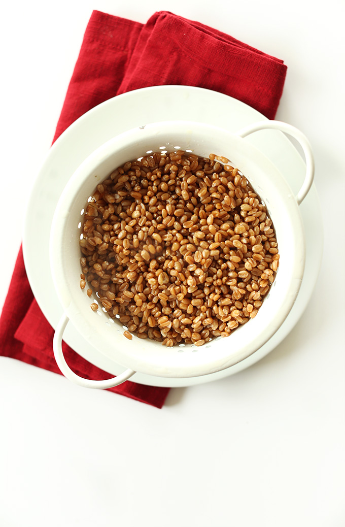 Wheat berries in a colander for making Mediterranean Wheat Berry Salad