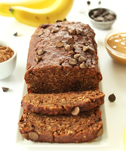 Loaf of our one bowl easy Peanut Butter Chocolate Banana Bread