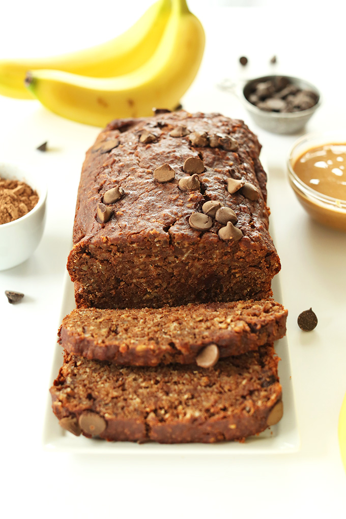 One Bowl PB Banana Chocolate Snack Bread! Double chocolate, double peanut butter and 1 bowl required! #vegan #glutenfree MEGADELICIOUS