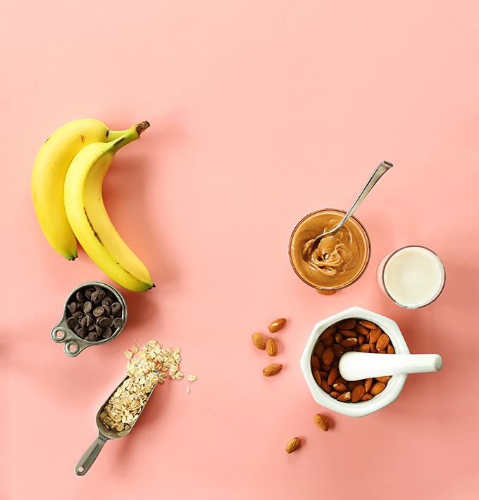Oats, bananas, peanut butter and other ingredients for making PB Chocolate Banana Bread