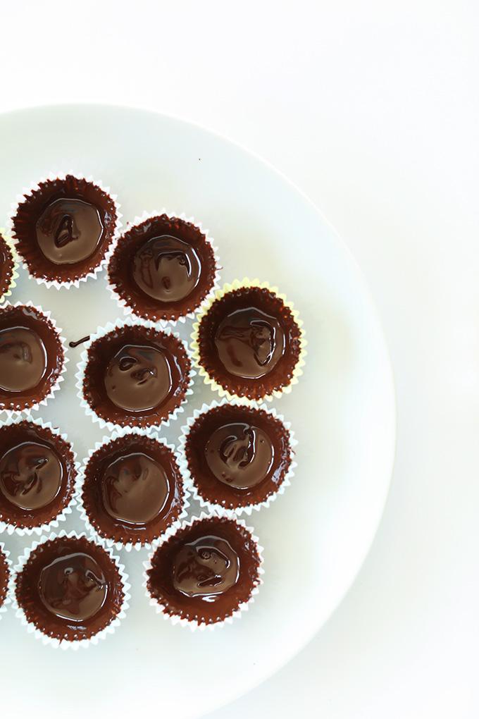 Plate of mini vegan chocolate Peanut Butter Mousse Cups
