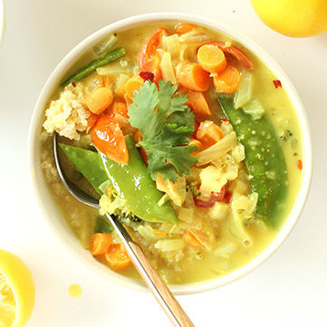Bowl of Simple Coconut Curry made with carrots and snap peas