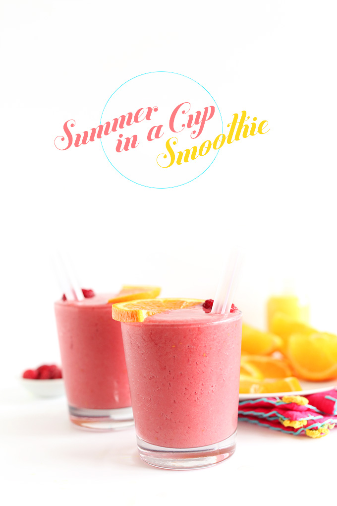 Summer in a Cup Smoothie! 5 ingredients to tart, sweet creamy bliss. And SO healthy! #vegan #glutenfree #minimalistbaker