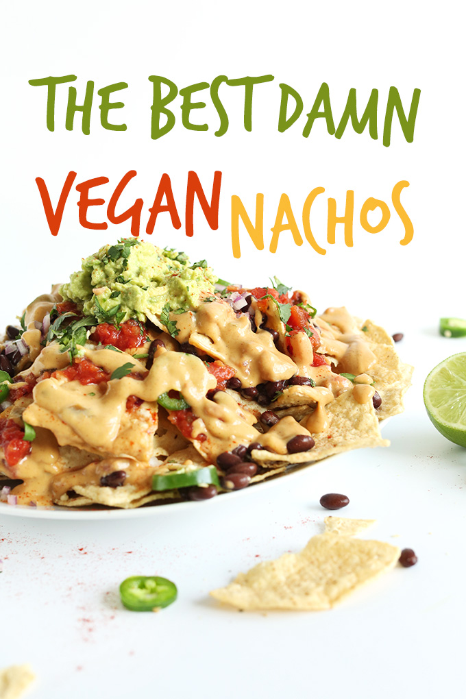 Plate filled with a batch of our recipe for The Best Damn Vegan Nachos