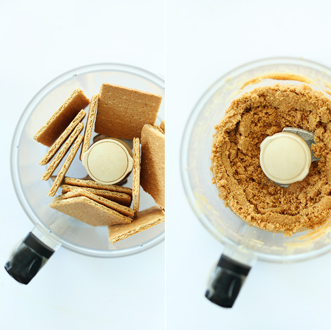 Making vegan graham cracker crust in the food processor