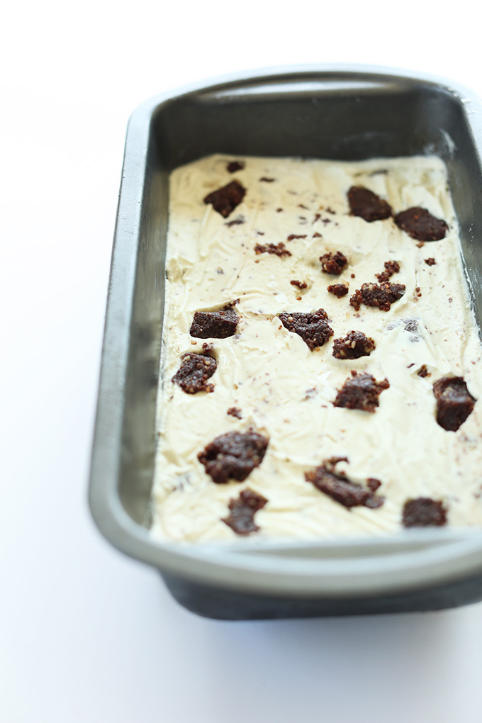 Baking pan with a batch of our Vegan Mint Brownie Ice Cream recipe