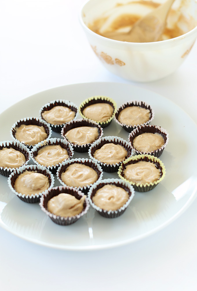 Plate of Vegan Peanut Butter Mousse Cups ready for their top layer