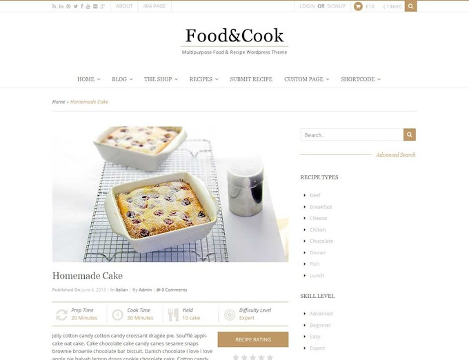 food & cook theme