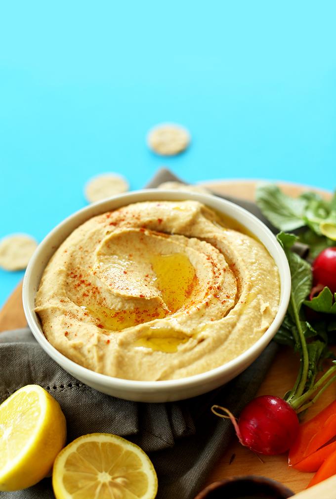 Big bowl of homemade gluten-free vegan Microwave Hummus