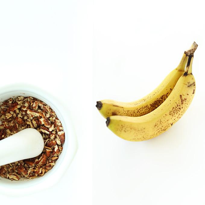 Bananas and pecans for making vegan shortbread cookies
