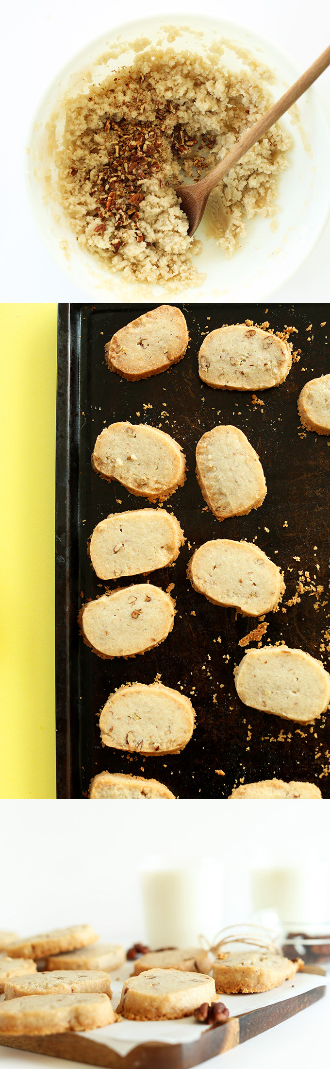 Mixing bowl of shortbread ingredients and baking sheet and cutting board of freshly baked shortbread cookies