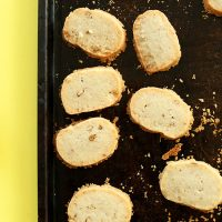 Baking sheet with freshly baked Vegan Gluten-Free Banana Pecan Shortbread Cookies