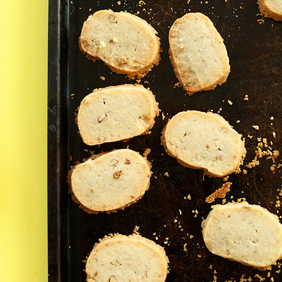 Baking sheet with freshly baked Vegan Gluten-Free Banana Pecan Shortbread Cookies