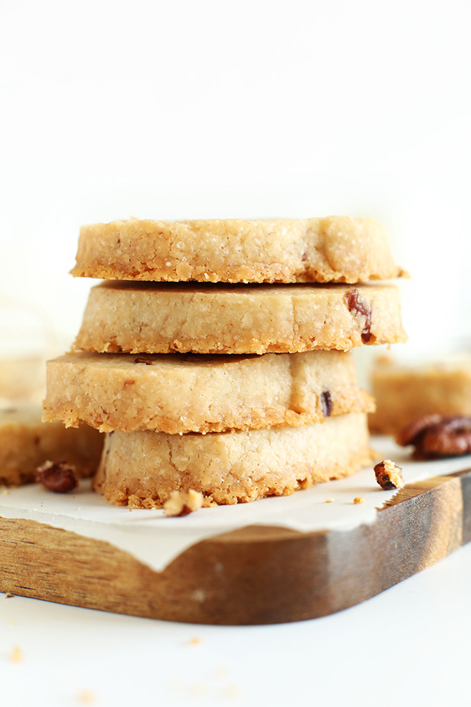 Stack of gluten-free vegan Banana Pecan Shortbread Cookies