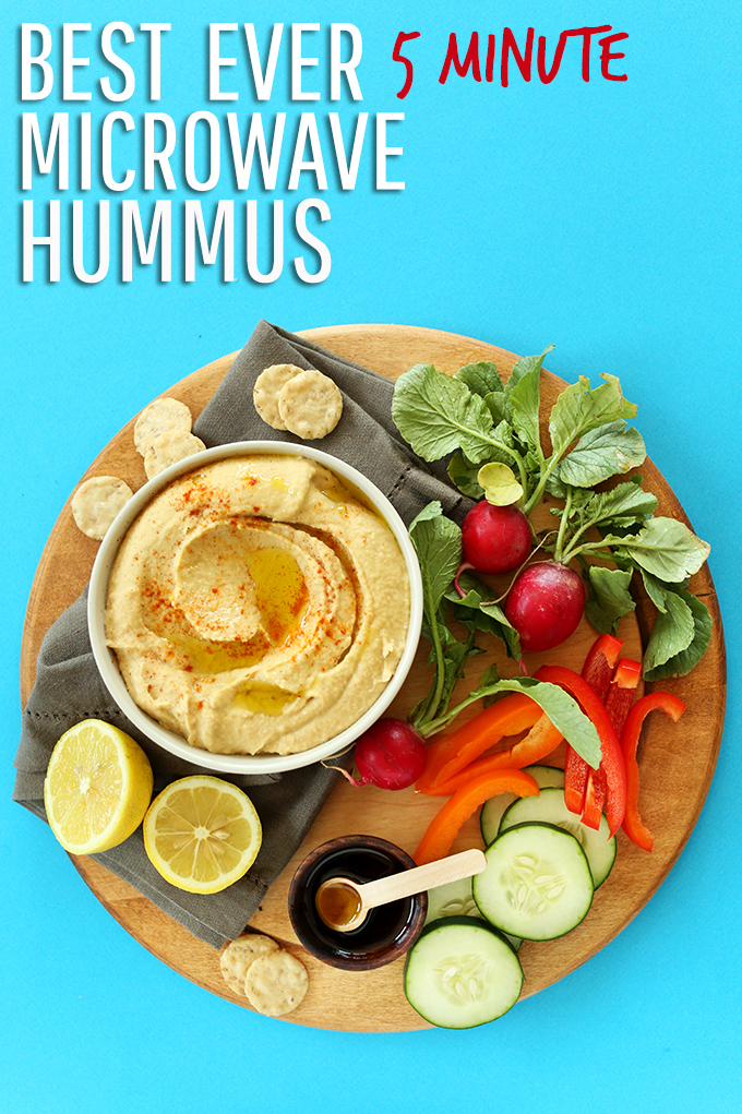 Veggie platter and bowl of simple homemade hummus