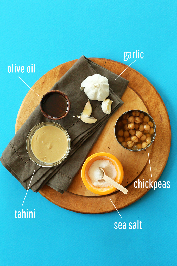 Olive oil, tahini, chickpeas, and garlic for making the Best Ever Hummus