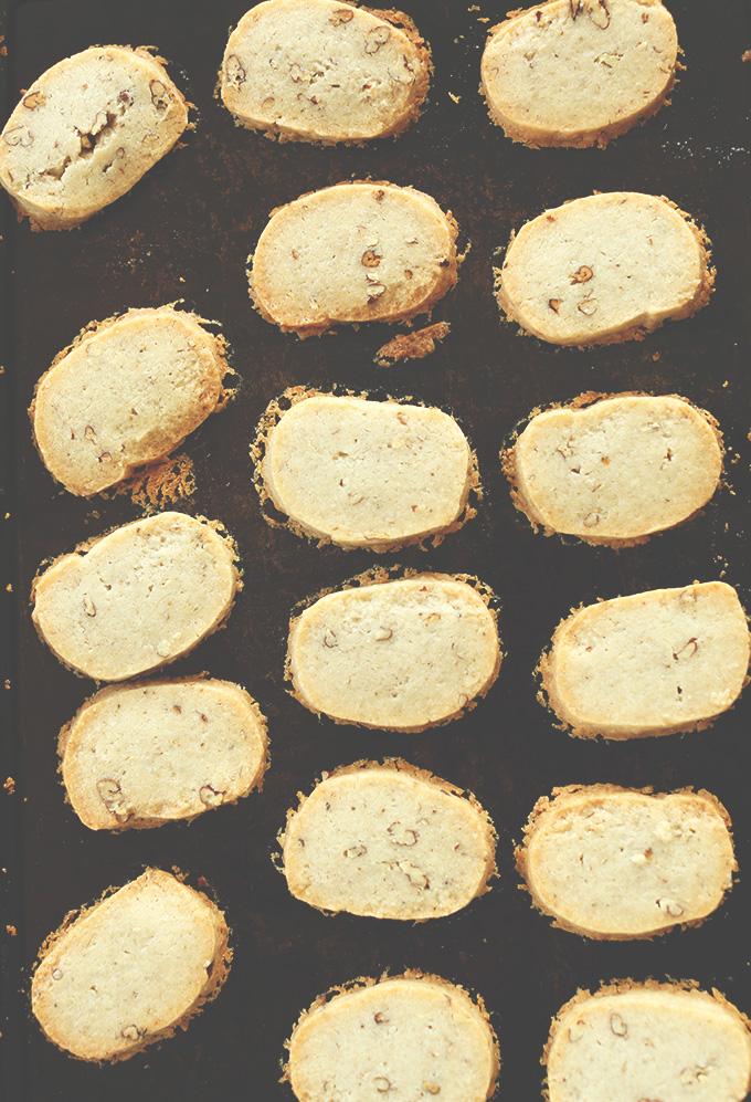 Baking sheet with freshly baked Coconut Oil Banana Pecan Shortbread Cookies