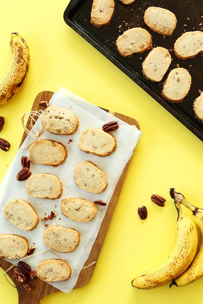 Slices of our Easy Banana Pecan Coconut Oil Shortbread