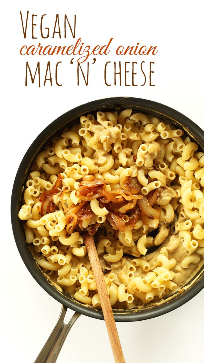 Pan of Vegan Caramelized Onion Mac N Cheese