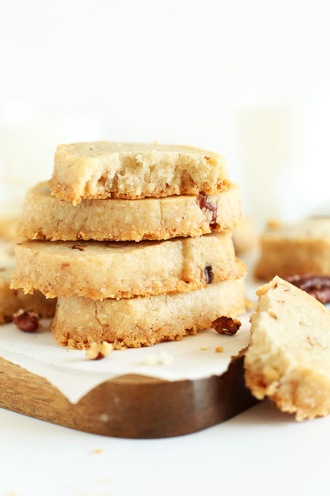 Stack of Vegan Banana Pecan Shortbread Cookies