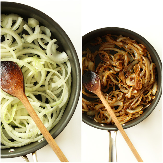 Before and after shot showing how to caramelize onions