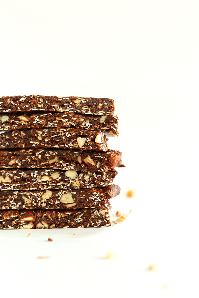 Stack of our healthy Brownie Granola Bars loaded with oats and nuts