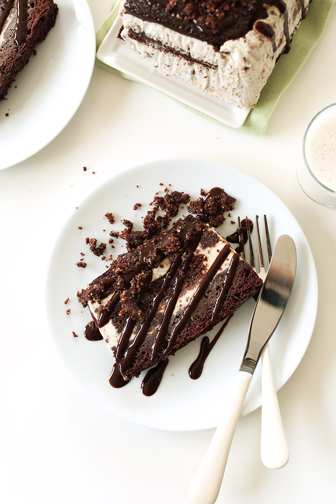 Plate with a slice of delicious Mint Chocolate Brownie Ice Cream Cake