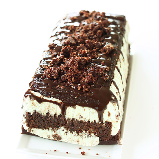 Homemade Vegan Mint Chocolate Ice Cream Cake on a plate