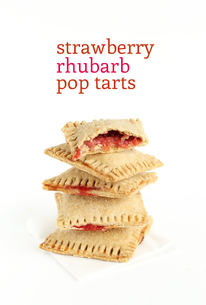 Stack of Strawberry Rhubarb Pop Tarts using our vegan recipe