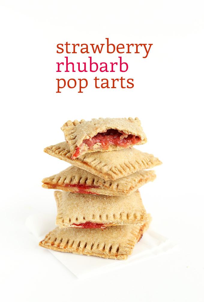 Stack of Strawberry Rhubarb Pop Tarts using our vegan recipe
