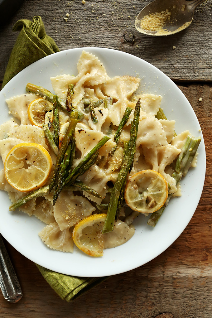 Top down shot of a plate of our 30-minute Creamy Vegan Lemon Asparagus Pasta recipe