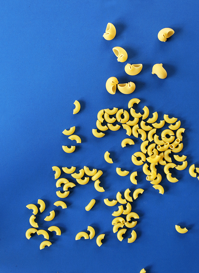 Macaroni shells on a blue background for making Vegan Pasta Salad