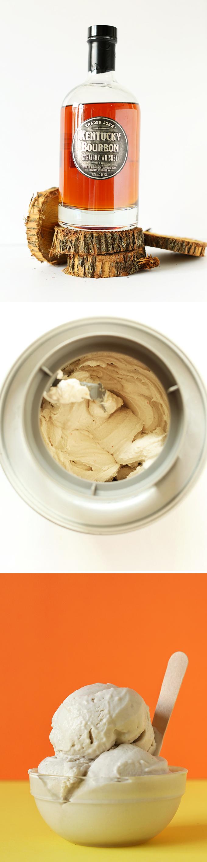 Bourbon and ice cream maker for crafting Vegan Salted Bourbon Caramel Ice Cream