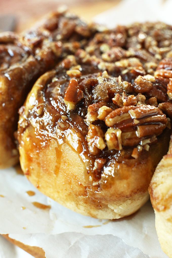 Close up shot of a batch of our vegan sticky buns recipe