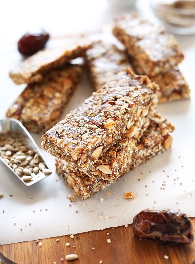 Close up shot of stacked vegan gluten-free Super Seedy Granola Bars
