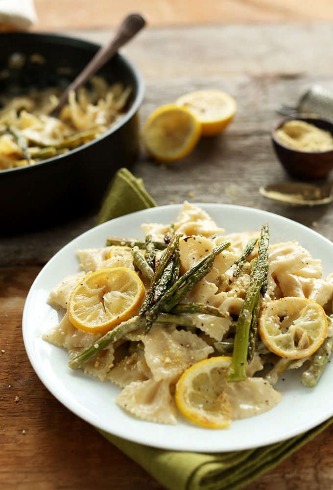 Plate of Creamy Vegan Lemon Asaparagus Pasta for a comforting dinner