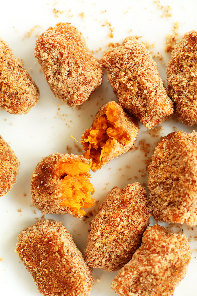 Close up shot of Baked Sweet Potato Tater Tots revealing the crispy outsides and tender insides