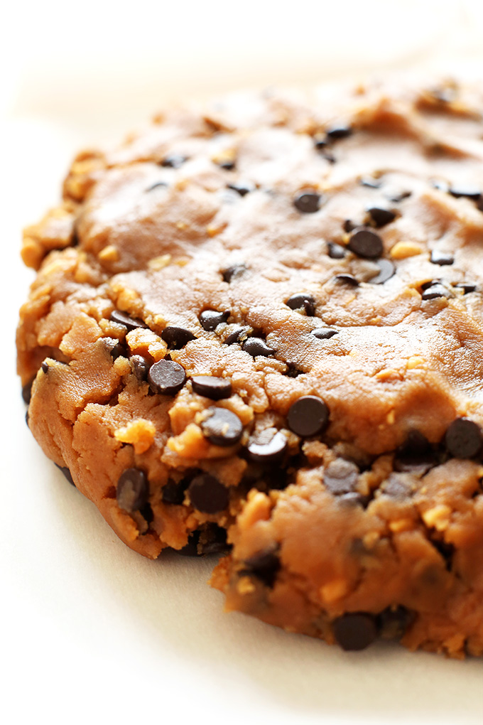 Glistening batch of Vegan Peanut Butter Chocolate Chip Cookie Dough